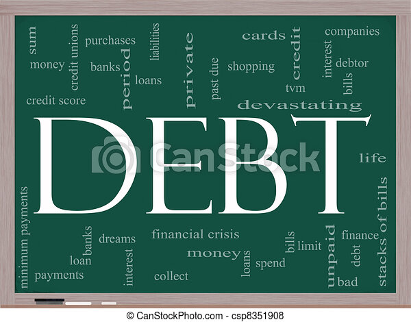 Debt Word Cloud Concept on a Chalkboard - csp8351908