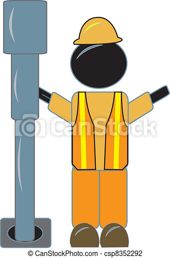 Oil Rig Worker With Drill - csp8352292