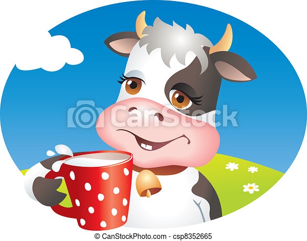 Milk Cow Clipart Funny Cow Drinking Cup of Milk