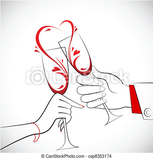 Couple holding Glass of Wine - csp8353174