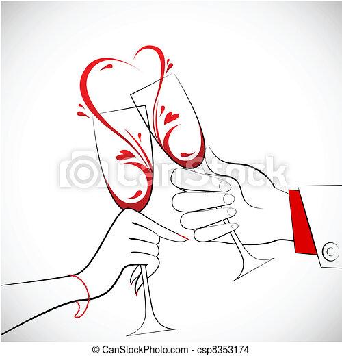 Couple holding Glass of Wine - csp8353174