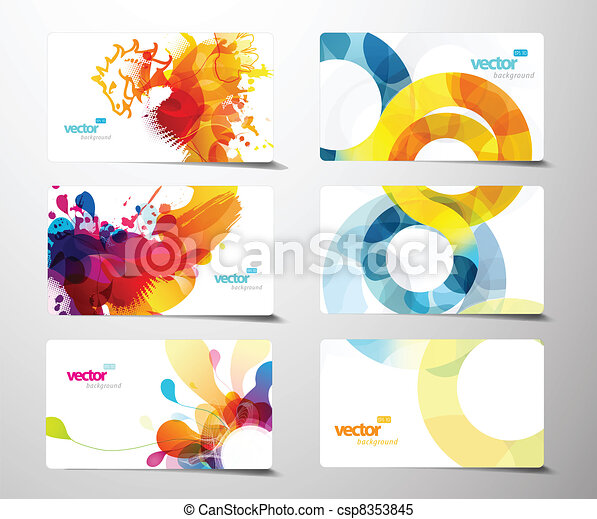 Set of abstract colorful splash gift cards. - csp8353845