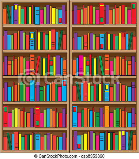 Vector Clipart Of Bookshelf A Large Double Case