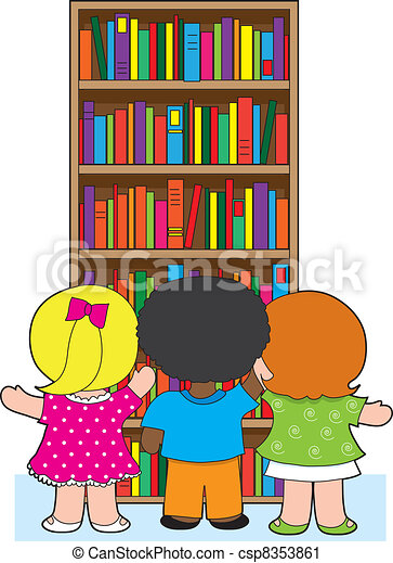 clip art vecteur de biblioth que gosses trois jeune cole enfants are csp8353861. Black Bedroom Furniture Sets. Home Design Ideas