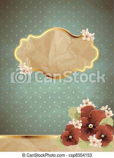 Romantic vintage banner w/ flowers - csp8354153