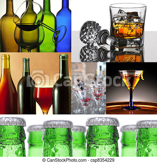 Alcoholic Beverage Collage - csp8354229