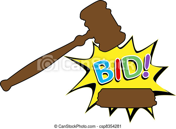 Bid to buy auction gavel cartoon icon - csp8354281