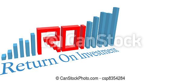 ROI Return on Investment business bar chart - csp8354284