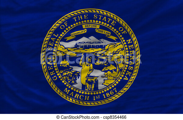 complete flag of us state of nebraska covers whole frame, waved, crunched and very natural looking. It is perfect for background - csp8354466