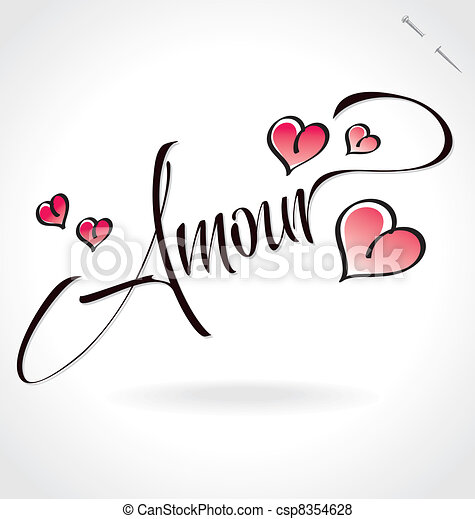 'amour' hand lettering (vector) - csp8354628