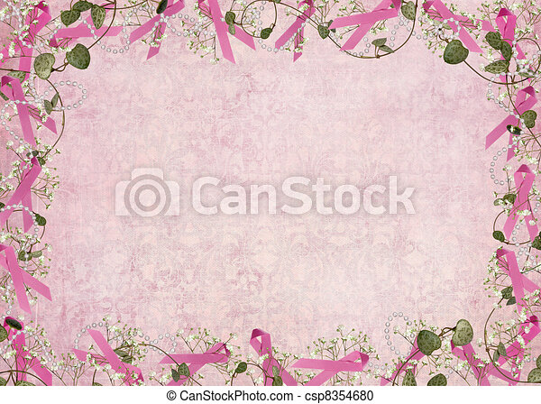 pink ribbon border - csp8354680