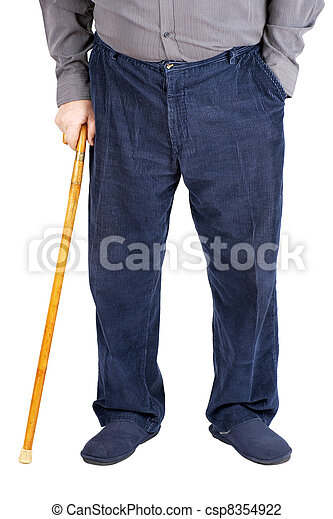 Half of old man walking with cane - csp8354922