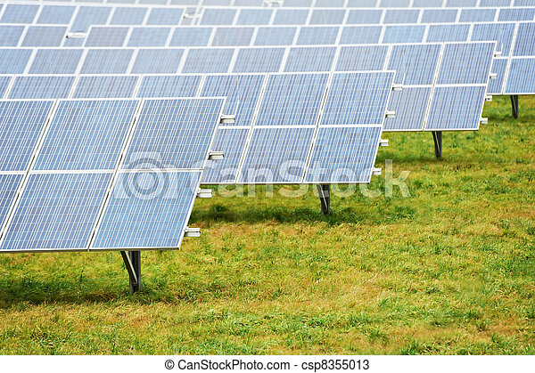 Ecology energy farm with solar panel battery field - csp8355013