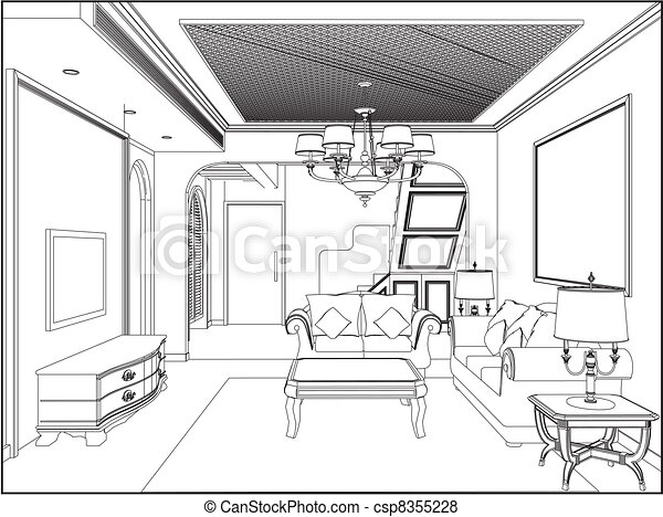 Vector Of Living Room Vector Csp Search Clip Art