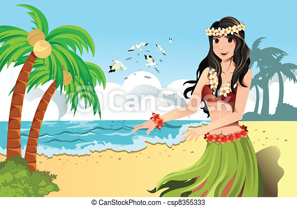 Hawaiian hula dancer - csp8355333