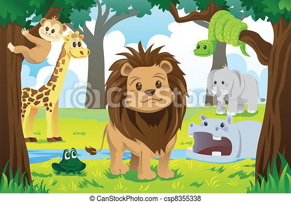 Vector of Animal kingdom - A vector illustration of wild ...