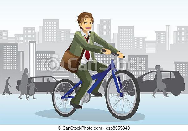 Businessman riding bicycle - csp8355340