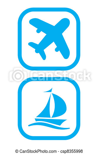 Plane and Ship Icons - csp8355998