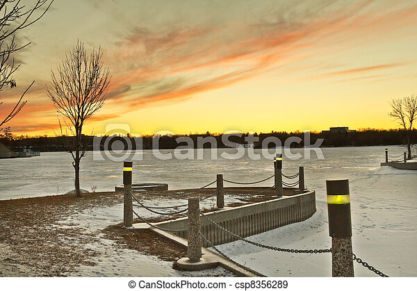 Wascana lake freezing - csp8356289