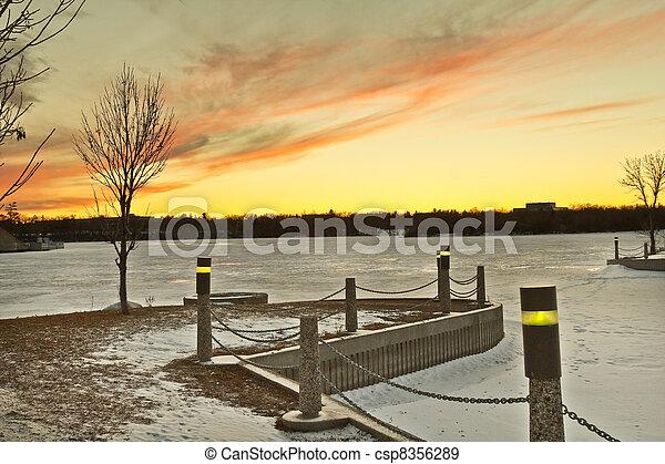 Wascana lake freezing - csp8356289