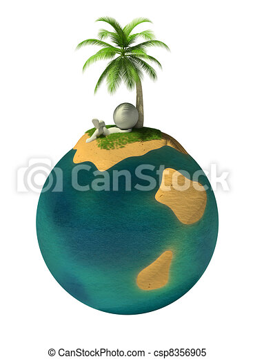3d small people - desert island - csp8356905