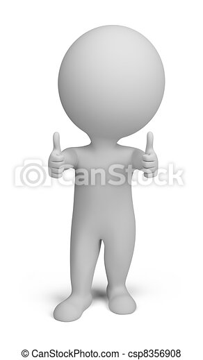 3d small people - double thumbs up - csp8356908