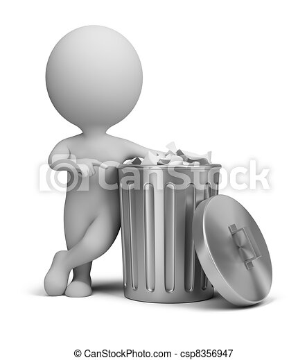 3d small people - trash can - csp8356947