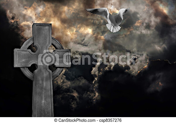 Graveyard cross with seagull against storm clouds - csp8357276