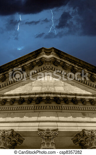 Lighning strikes over banking institution - csp8357282
