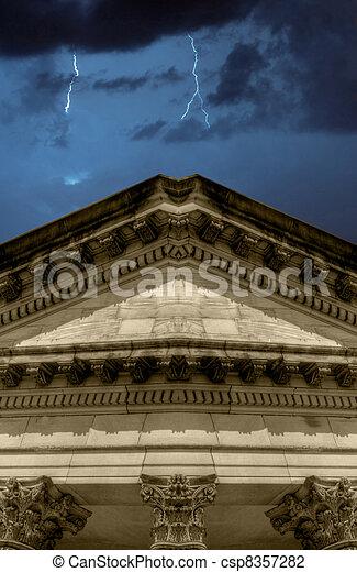 Lighning strikes over banking institution - csp8357282