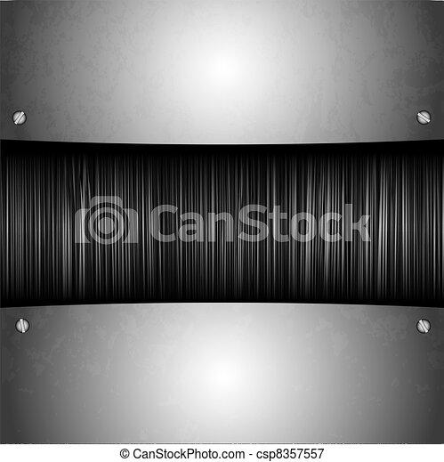 steel plate on metal background. vector illustration - csp8357557