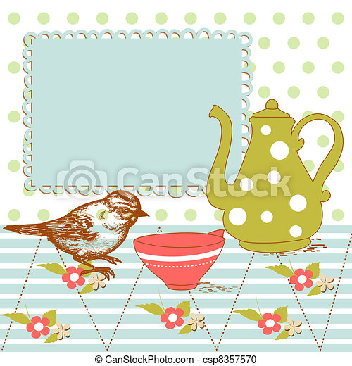 Bird and tea in the kitchen - csp8357570