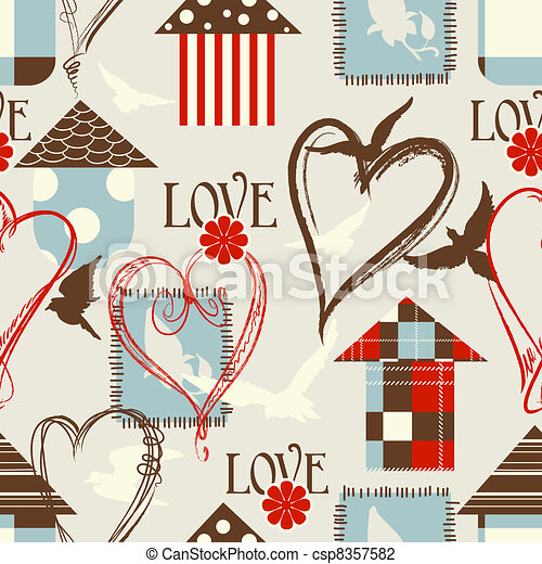Love seamless pattern with birds, birdcages and hearts - csp8357582