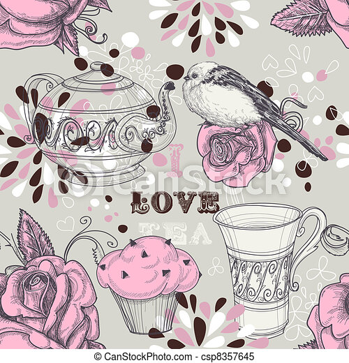Tea love seamless pattern - csp8357645