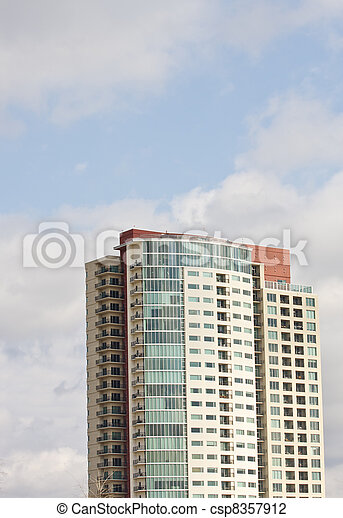White Red and Blue Condo Tower - csp8357912