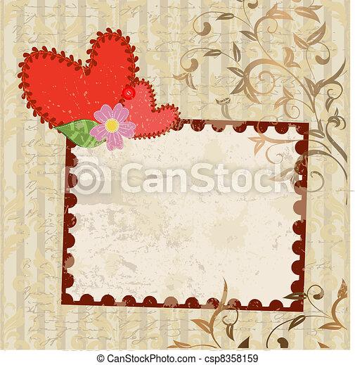 handmade valentine in background grunge - csp8358159