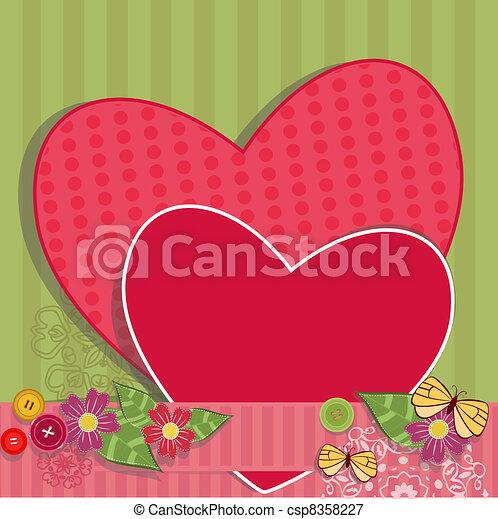 Paper valentine handmade with vintage elements - csp8358227