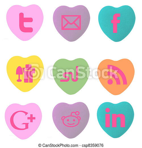 Conversation Hearts Social Stamps - csp8359076
