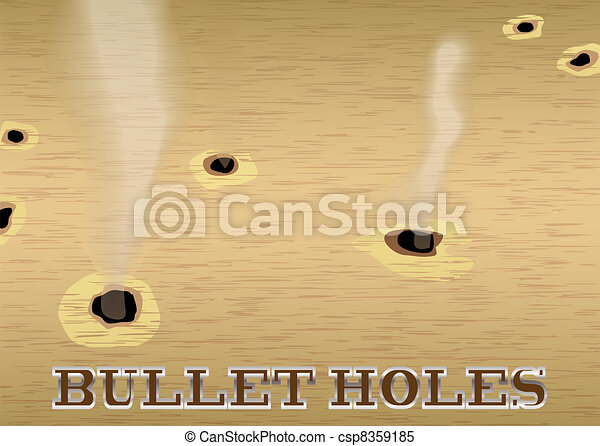 Clipart Vector of Bullet hole wood - Wood sign with smoking bullet ...