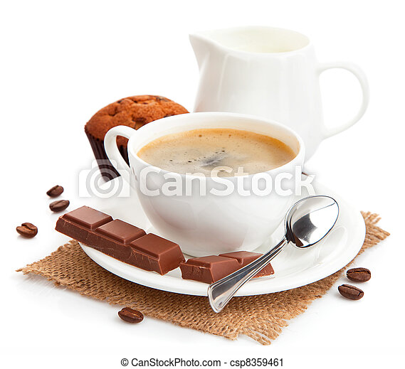 coffee with milk and cake - csp8359461