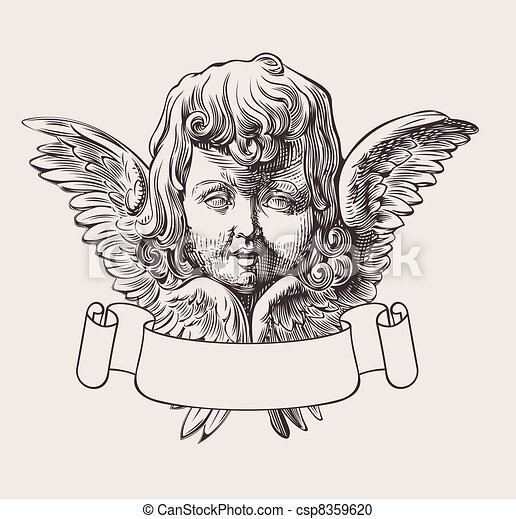 Angel Head And Banner Engrave Vector - csp8359620