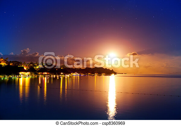Night. The moon over the sea and reflection in water. Bora-Bora - csp8360969