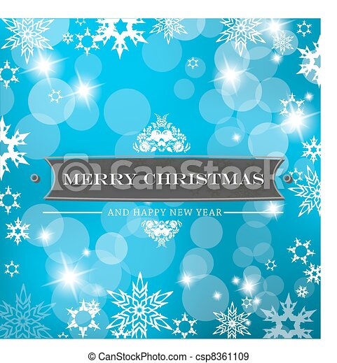 Christmas blue background with snow flakes. - csp8361109