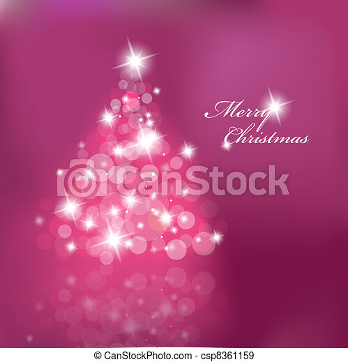 Christmas tree with blurred lights on purple background.  - csp8361159