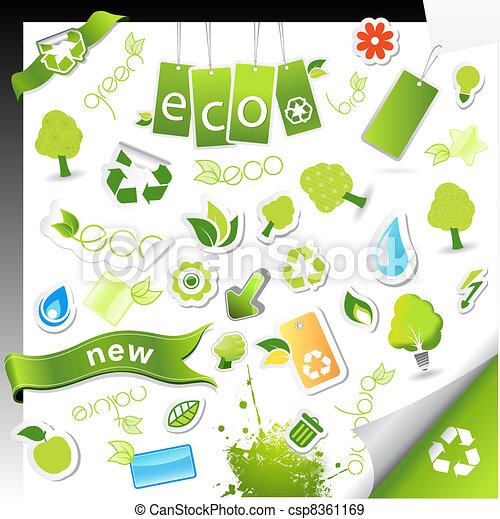 Set of ecology,bio and health symbols. - csp8361169