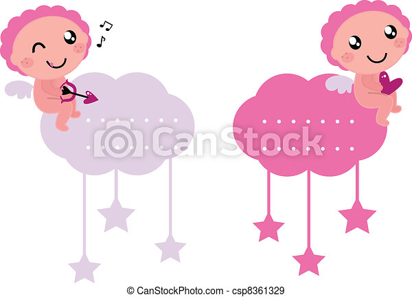 Little Cupid blank tags collection isolated on white - csp8361329