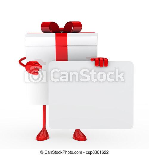 White gift whit billboard - csp8361622