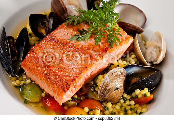 Close up of prepared Salmon Dinner - csp8362344