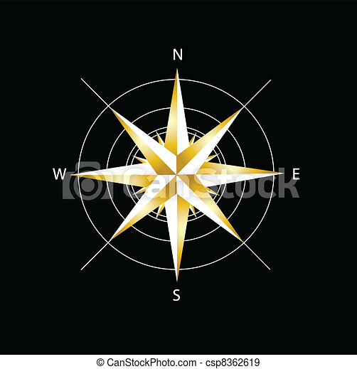 Golden compass rose  - csp8362619