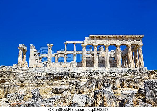 ruínas, Templo, ilha, aegina, Grécia - csp8363297